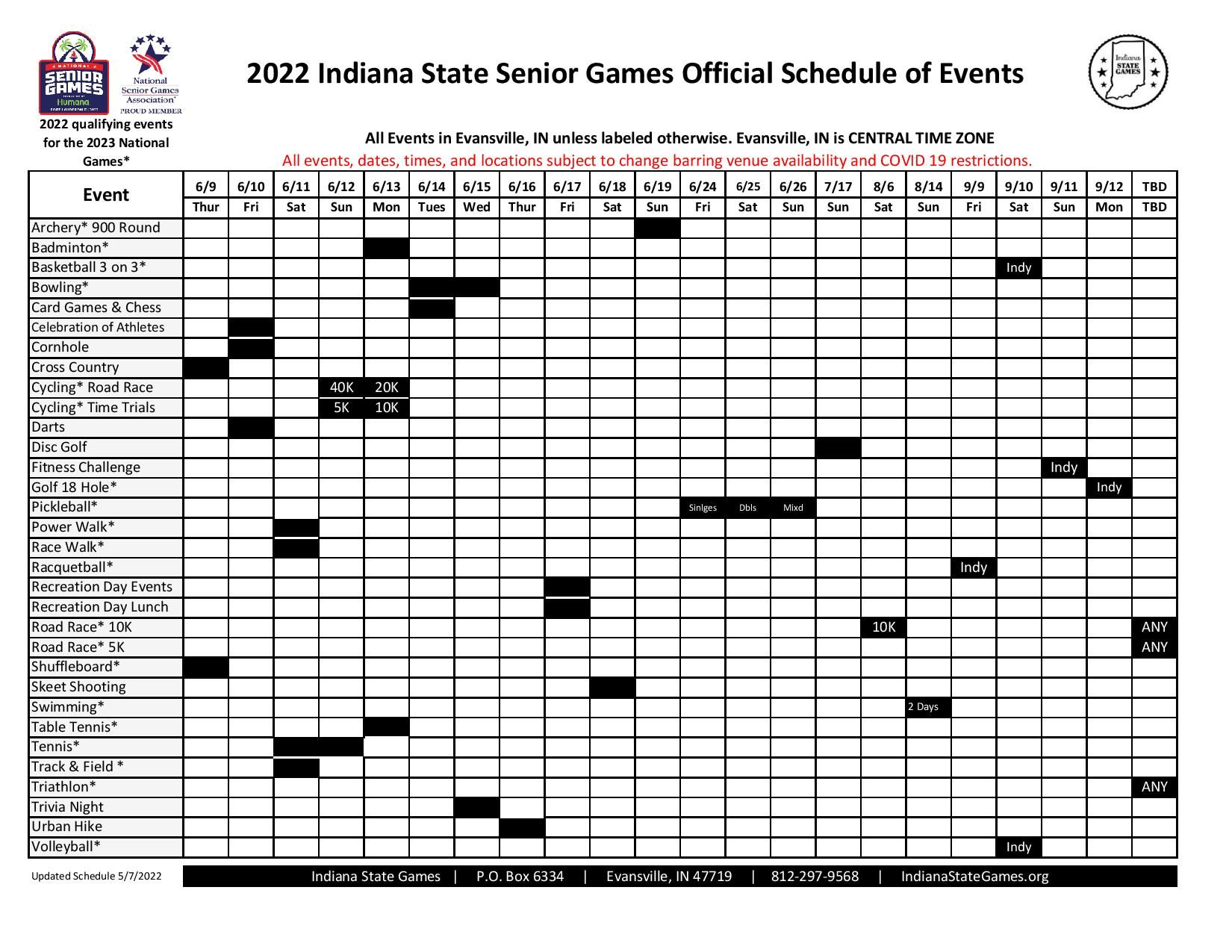 2021 Schedule of Events